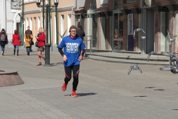 В Казани побывал марафонец с девизом «Потею за ипотеку!»