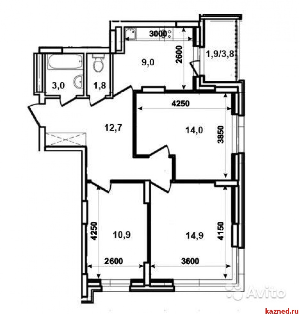 Продажа 3-к квартиры Тэцевская, 7Б, 68 м2  (миниатюра №1)