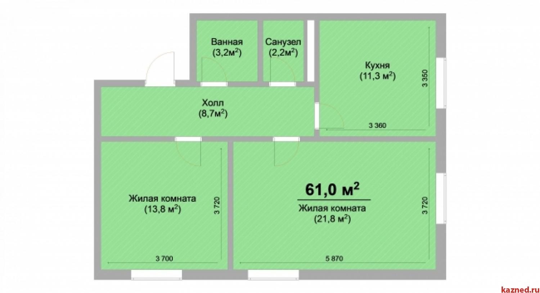 Продажа 2-к квартиры Центральная, 62 м² (миниатюра №1)