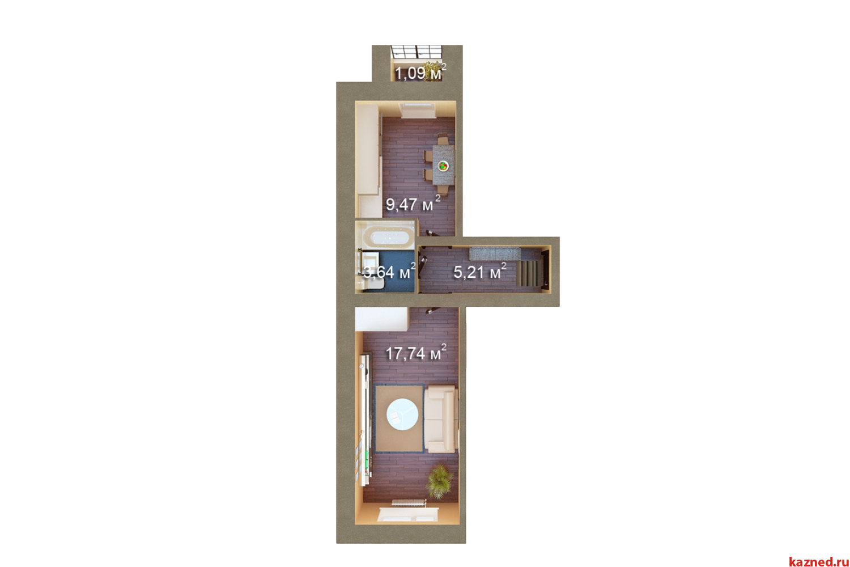 Продажа 1-к квартиры Мамадышский тракт, 36 м²  (миниатюра №2)