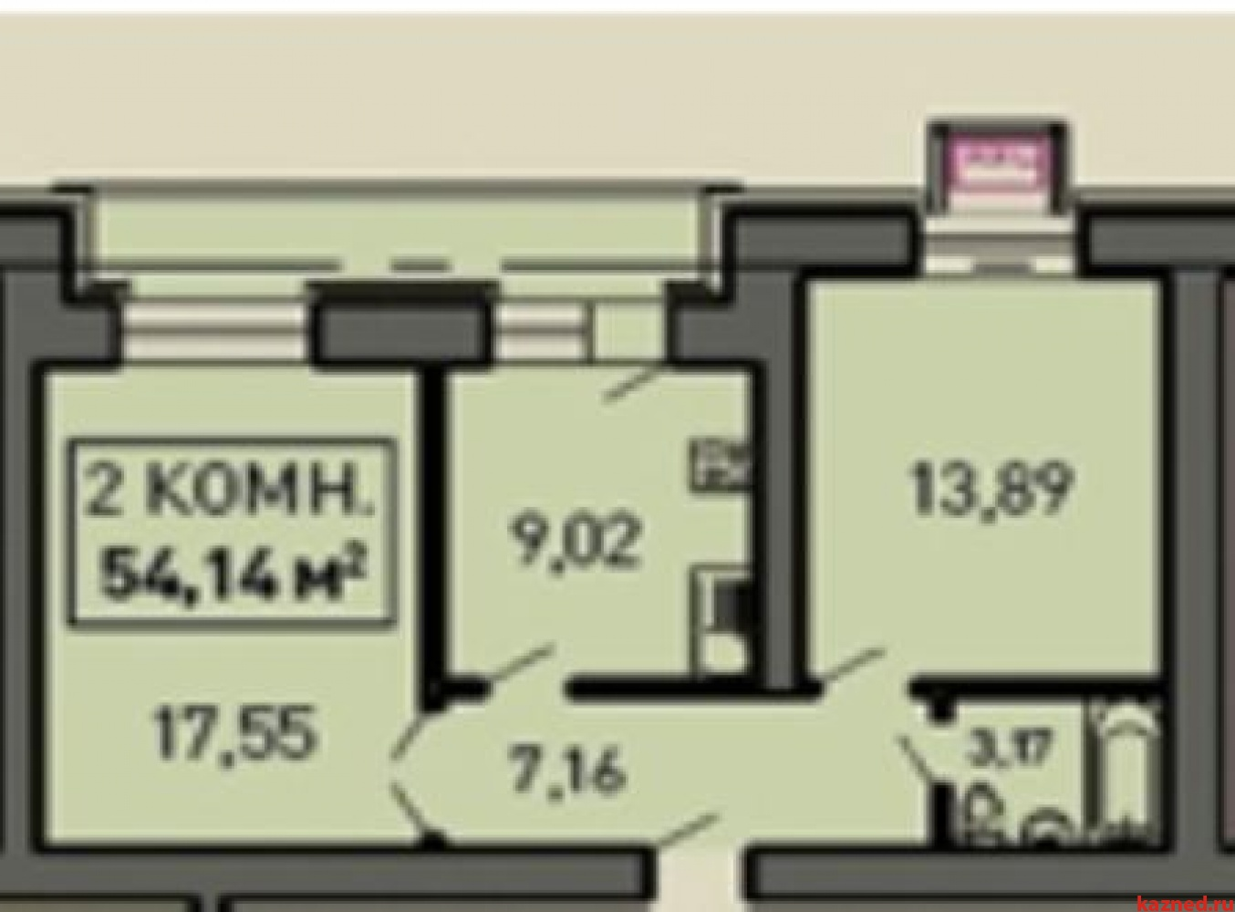Продажа 2-комн.квартиру Лукина, д.52, 55 м2  (миниатюра №2)