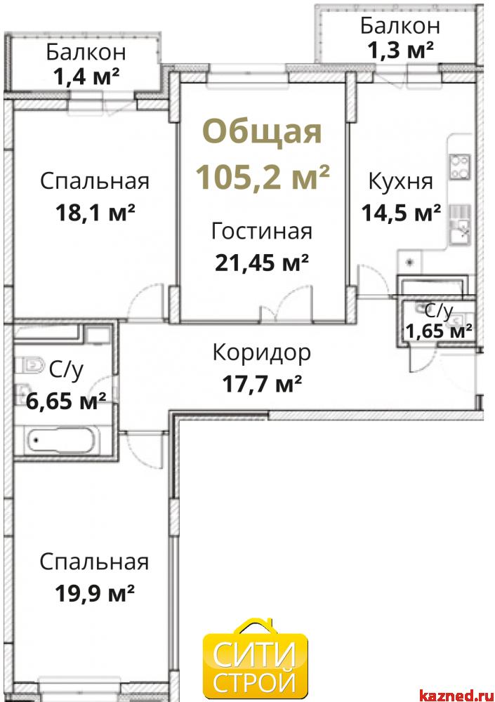 Продажа 3-к квартиры Камая, д.8а, 2 очередь, 104 м² (миниатюра №3)