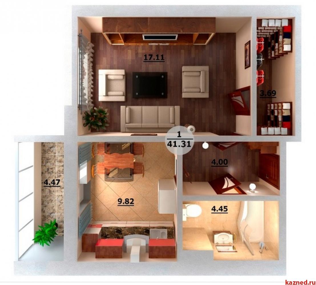 Продажа 1-к квартиры Мамадышский тракт / Натана Рахлина 7Б, 41 м²  (миниатюра №2)
