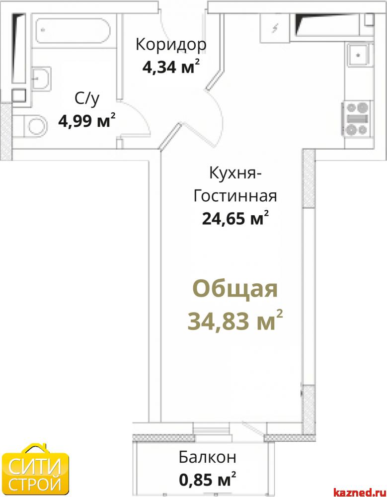 Продам 1-комн.квартиру Проточная, 35,9 м2  (миниатюра №1)