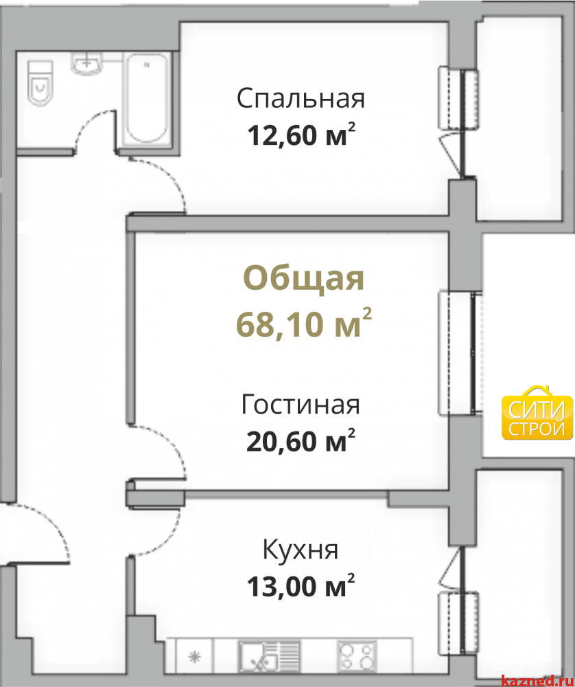 Продам 2-комн.квартиру Камая 8, 1 очередь, 69 м2  (миниатюра №1)