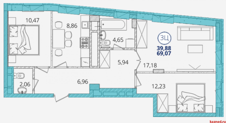 Продажа 3-к квартиры Дубравная д.16А-10, 70 м² (миниатюра №3)