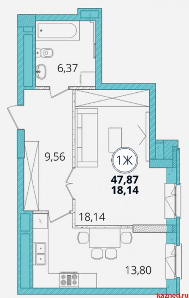Продам 1-комн.квартиру Дубравная д.28А, 49 кв.м. (миниатюра №2)