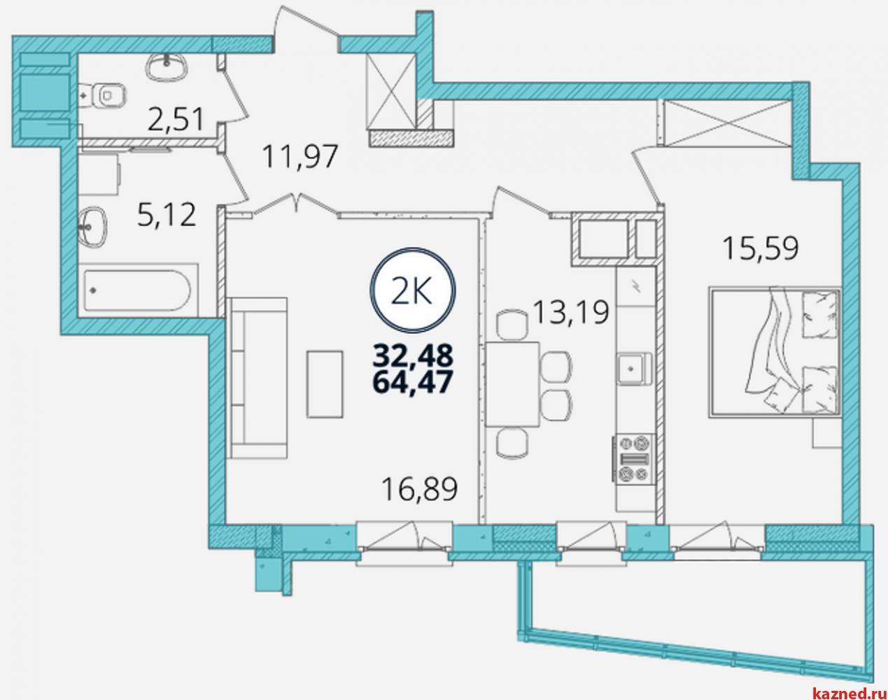 Продажа 2-к квартиры Дубравная д. 28А, 65 м2  (миниатюра №3)