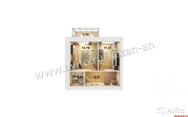 Продажа 1-к квартиры Мамадышский тракт д 1 ЖК Весна, 0 м²  (миниатюра №14)