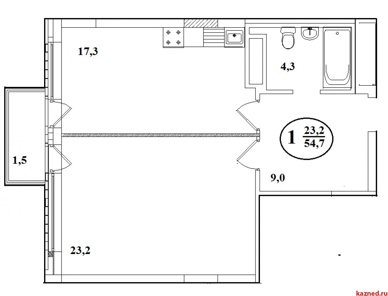 1-ком. 54,7 кв.м. в центре. Дом сдан (миниатюра №2)