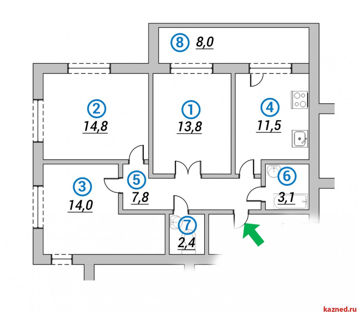 Продажа 3-к квартиры 1-ая Азинская, 71 м2  (миниатюра №1)