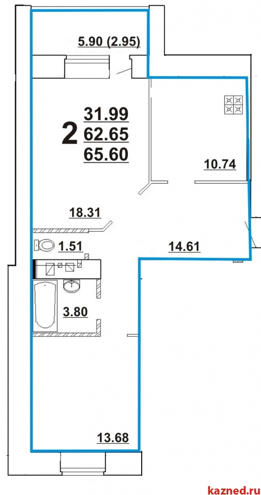Продажа 2-к квартиры Ноксинский спуск , 66 м² (миниатюра №2)