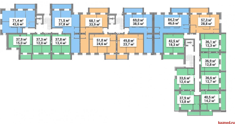 Продажа 2-к квартиры 1-ая Азинская, 68 м2  (миниатюра №2)
