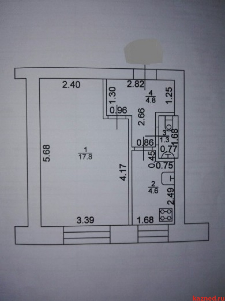 Продам 1-комн.квартиру Осиново, ул. Комсомольская, 7, 28 м2  (миниатюра №1)