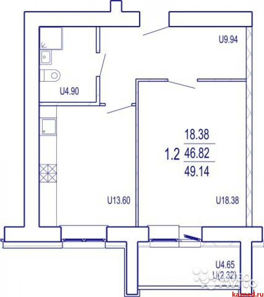 Продам 1-комн.квартиру Даурская, 35А, 49 м2  (миниатюра №3)