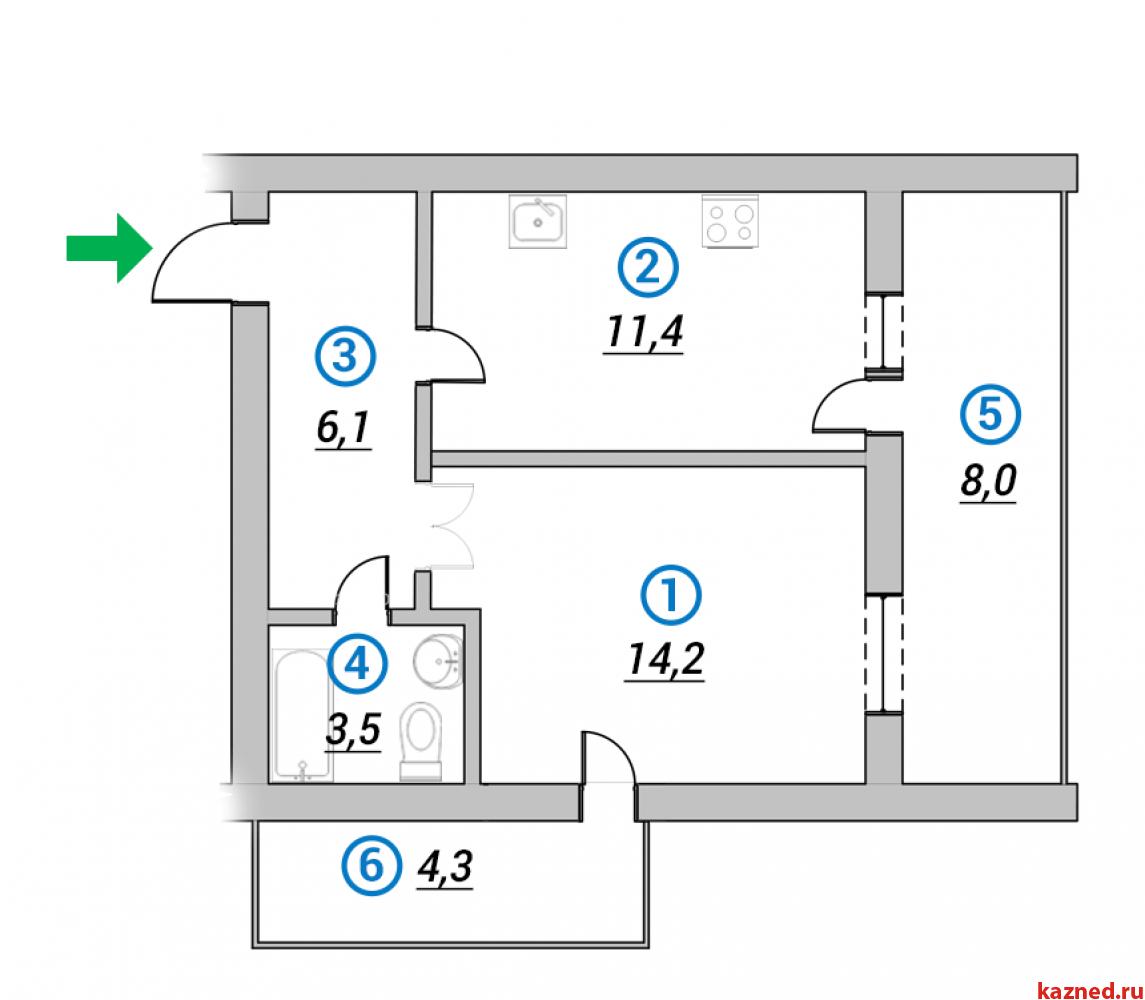 Продажа 2-к квартиры 1-ая Азинская, 42 м²  (миниатюра №1)