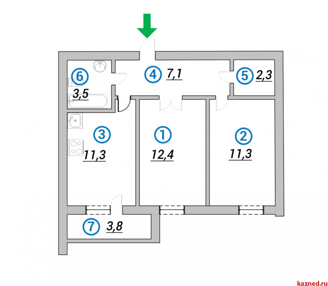 Продажа 2-к квартиры 1-ая Азинская, 50 м²  (миниатюра №1)