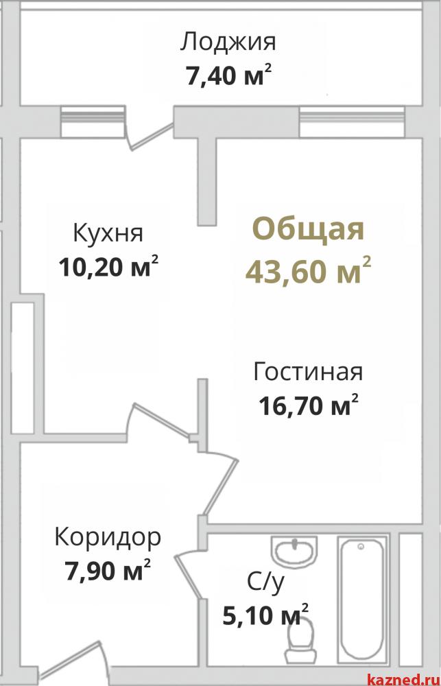 Продажа 1-к квартиры Гвардейская, 44 м2  (миниатюра №4)