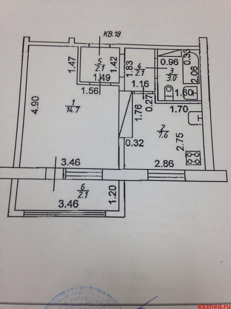 однокомнатная квартира, площадь 29,5 кв.м с. Осиново (миниатюра №7)