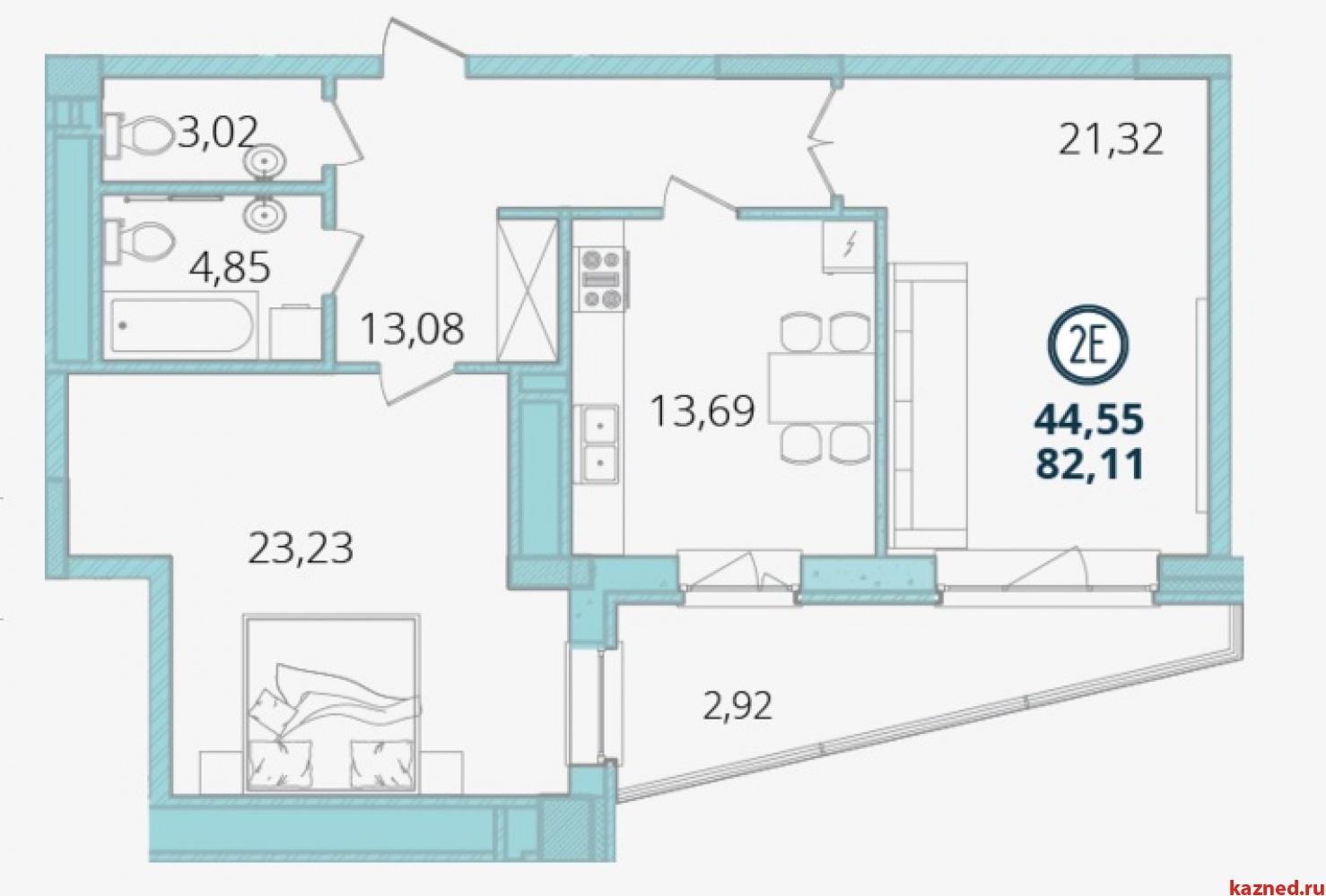 Продажа 2-к квартиры Дубравная д.16А-15 ЖК Экопарк Дубрава, 82 м²  (миниатюра №2)