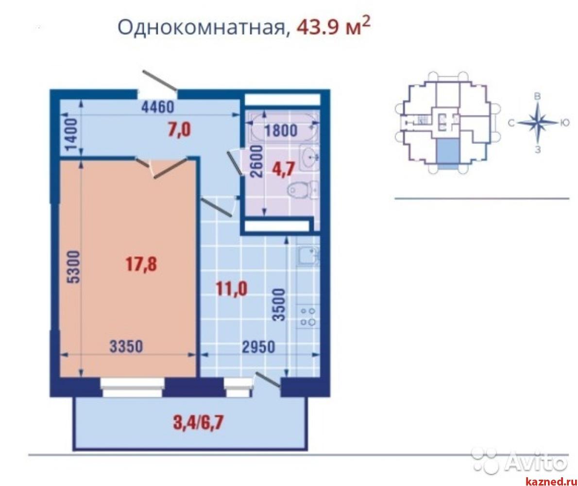 Продажа 1-к квартиры Коммисара Габишева/Завойского, 44 м²  (миниатюра №2)