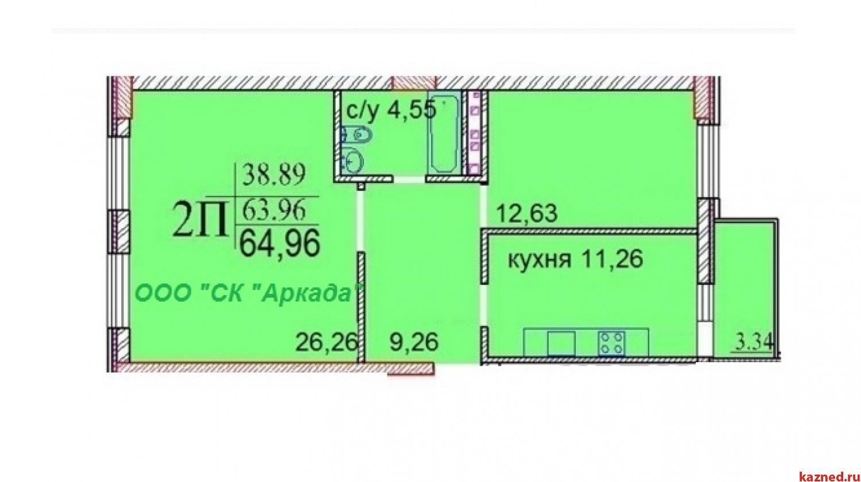 Продажа 2-к квартиры Шуртыгина, д. 7, 65 м2  (миниатюра №1)