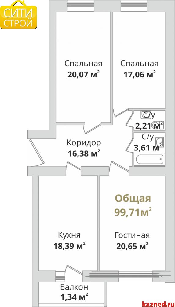 Продажа 3-к квартиры Восстания,129 (ост. Тасма), 97 м2  (миниатюра №3)