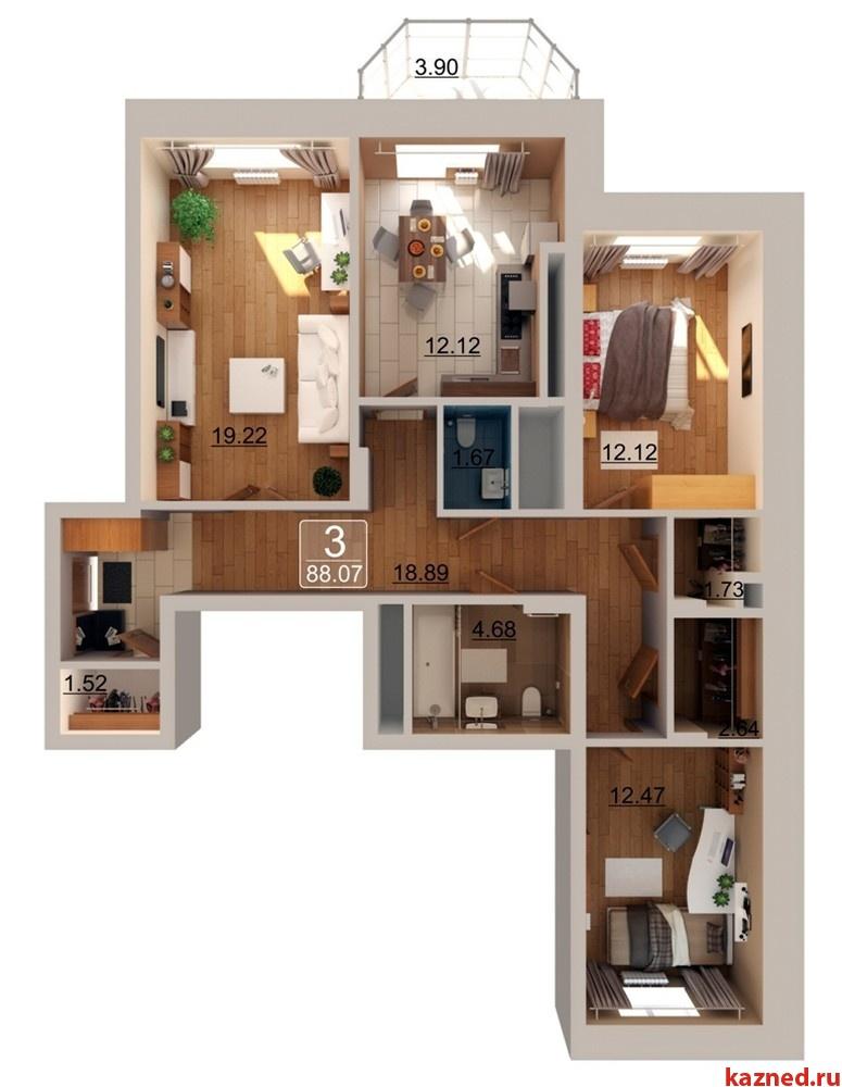 Продажа 3-к квартиры Ахунова, 10б, 88 м²  (миниатюра №1)