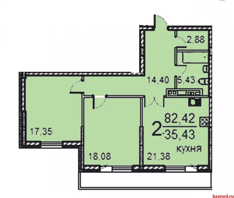 2-к квартира 83.6 м²  в Новостройке (миниатюра №1)