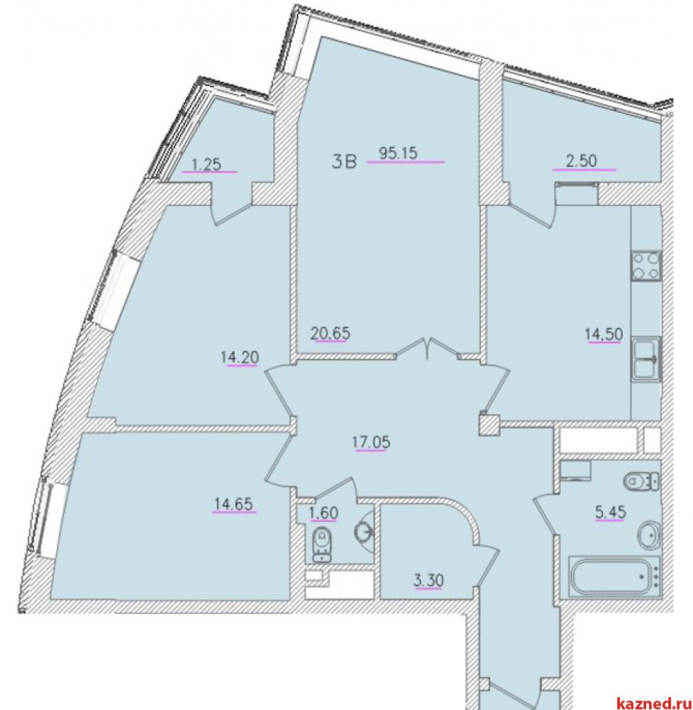 Продажа 3-к квартиры Оренбургский тракт 24а, 95 м² (миниатюра №12)