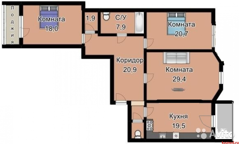 Продажа 3-комн.квартиру Аделя Кутуя,46, 130 м2  (миниатюра №15)