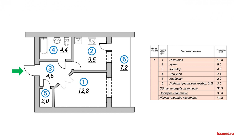 Продажа 1-к квартиры 1-ая Азинская, 37 м2  (миниатюра №3)