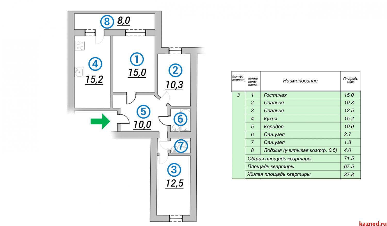 Продажа 3-к квартиры 1-ая Азинская, 71 м² (миниатюра №2)