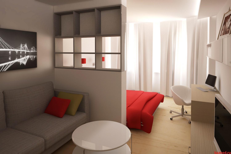 Спальня-гостиная в одной комнате 18 кв.м: фото с кроватью и .