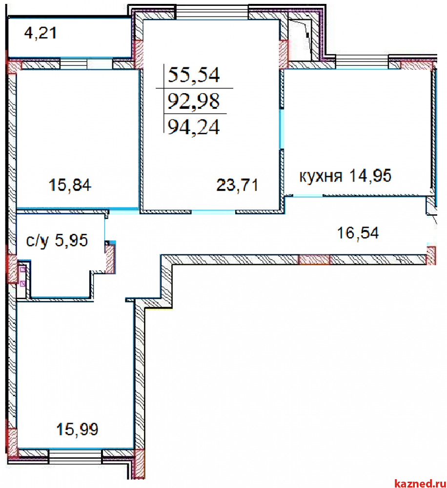 Продажа 3-к квартиры Шуртыгина,  7, 94 м2  (миниатюра №1)