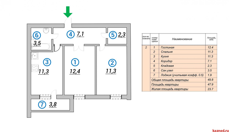 Продажа 2-к квартиры 1-я Азинская 43, 50 м²  (миниатюра №3)