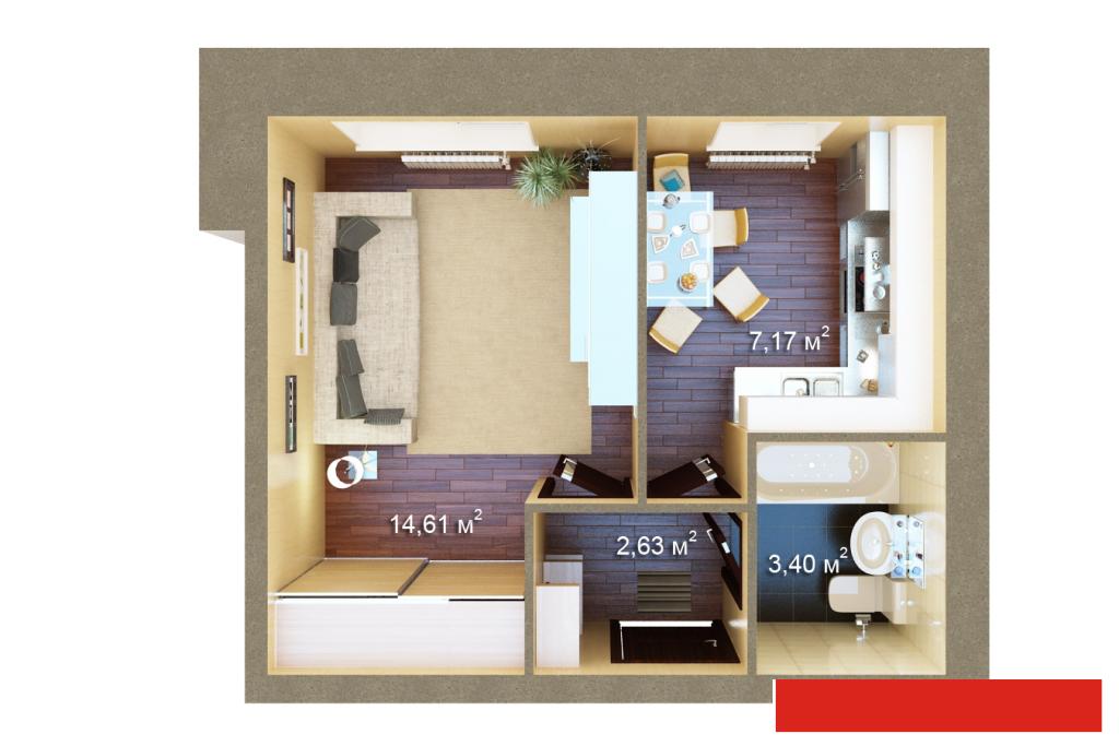 Продажа 1-к квартиры , 37 м2  (миниатюра №3)
