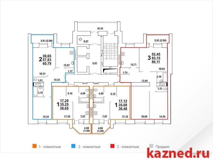 Продажа 2-к квартиры Ноксинский спуск, ЖК Молодежный поз. 3, 61 м² (миниатюра №2)