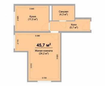 Продажа 1-к квартиры Центральная , 45.0 м² (миниатюра №1)