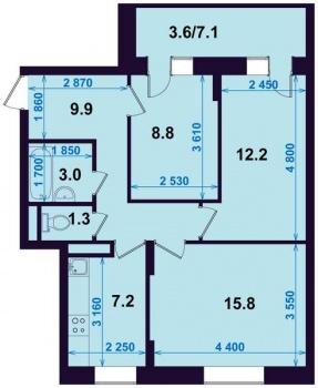 Продажа 3-к квартиры Тэцевская 7Б, 64.0 м² (миниатюра №2)