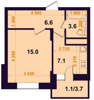 Продажа 1-к квартиры Тэцевская 7Б, 33.0 м² (миниатюра №2)