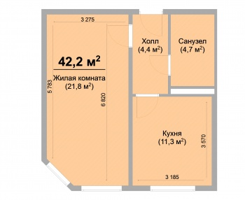 Продажа 1-к квартиры ЖК Светлый, 42.0 м² (миниатюра №1)