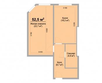 Продажа 1-к квартиры ЖК Светлый, 52.0 м² (миниатюра №1)