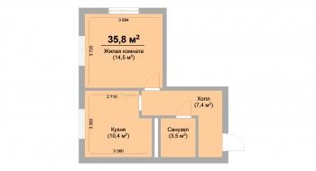 Продажа 1-к квартиры ЖК Светлый, 35.0 м² (миниатюра №2)