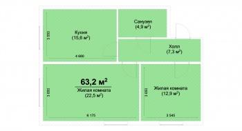 Продажа 2-к квартиры ЖК Светлый, 63.0 м² (миниатюра №2)