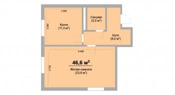 Продажа 1-к квартиры ЖК Светлый, 46.0 м² (миниатюра №2)