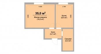 Продажа 1-к квартиры ЖК Светлый, 34.0 м² (миниатюра №3)