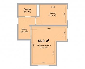 Продажа 1-к квартиры ЖК Светлый, 46 м² (миниатюра №3)
