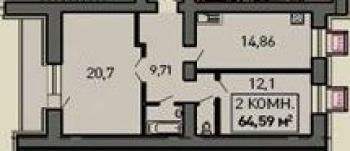 Продажа 2-к квартиры Лукина д.52, 68.0 м² (миниатюра №1)