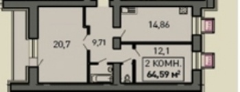 Продажа 2-к квартиры ул.Лукина д.52, 66.0 м² (миниатюра №2)